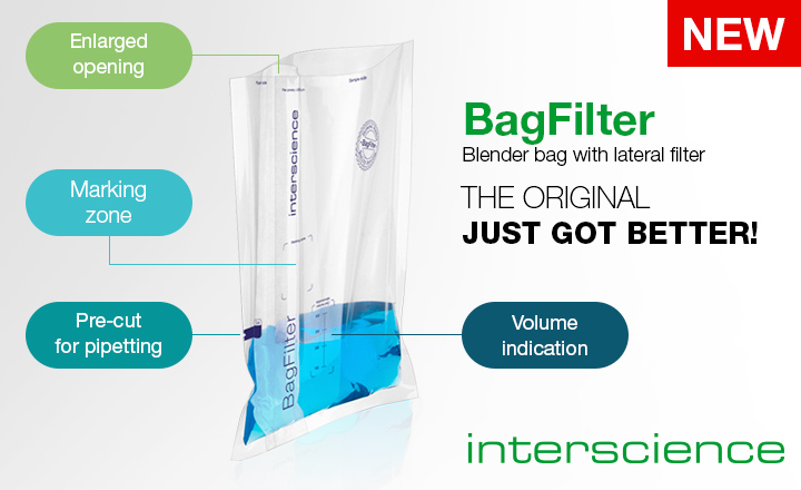 Blender bag with lateral filter