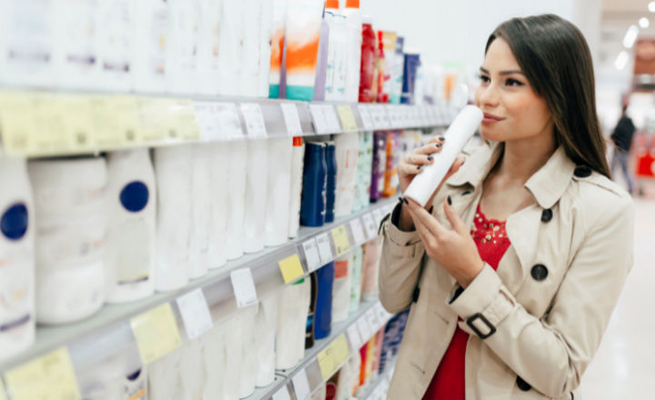 Woman shopping for personal care products